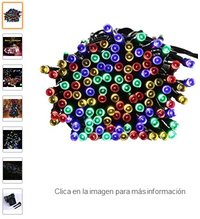 Comprar lederTEK Guirnalda de Luces 200 LED Solar de Color Multi 8 Modos para Decorar Navidad