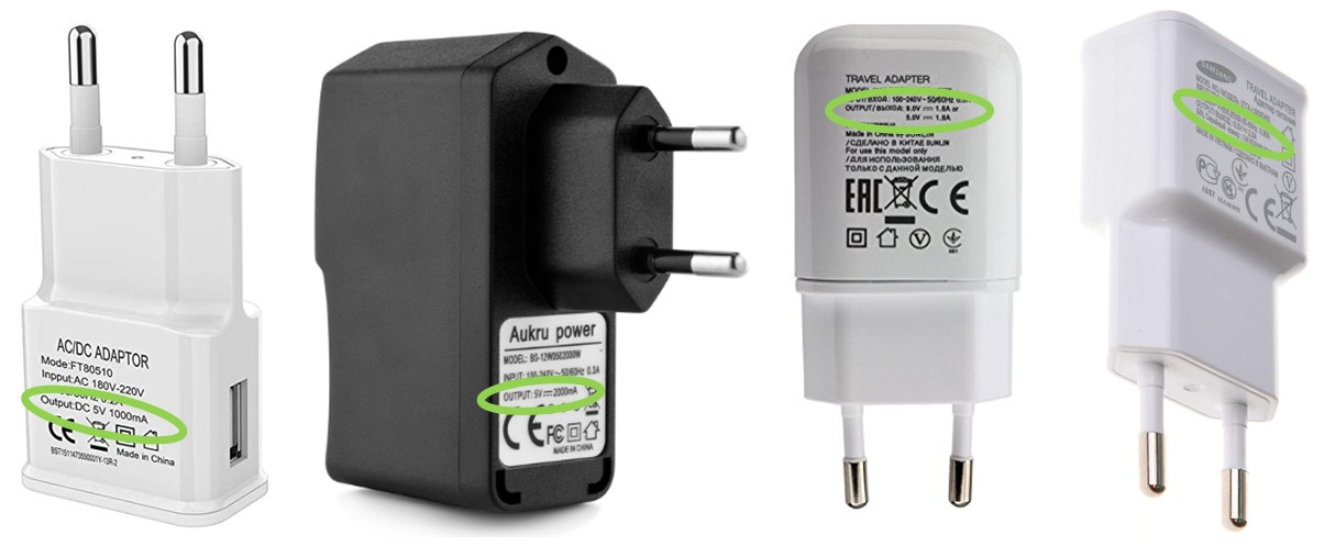 Detalle voltaje-potencia cargadores