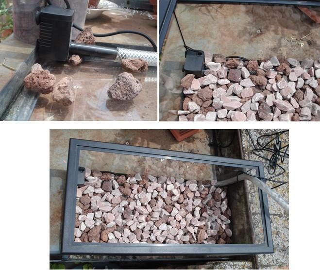 Tapando bomba con piedras