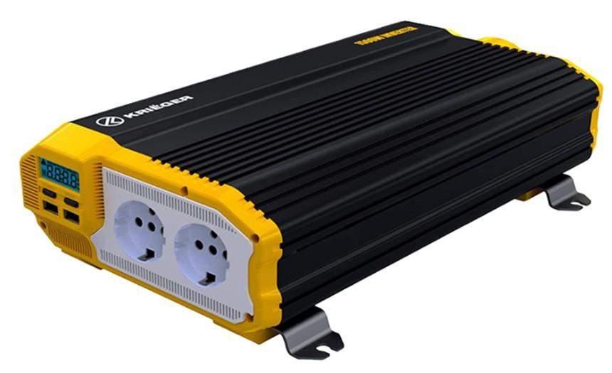 Comprar Inversor de Corriente Krieger 1500 Vatios Onda Modificada, Transformador-Convertidor 12V a 220V Portatil para Coche, 2 Puertos USB y 2 Tomas CA, Incluye Kit