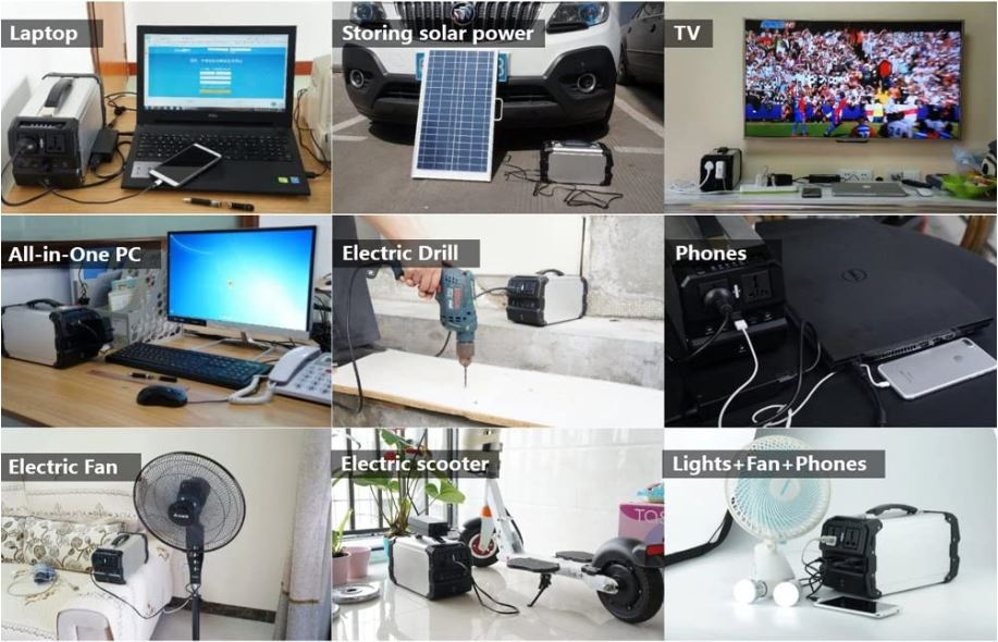 Tabla de aplicaciones del generador solar portátil TOPQSC 440Wh
