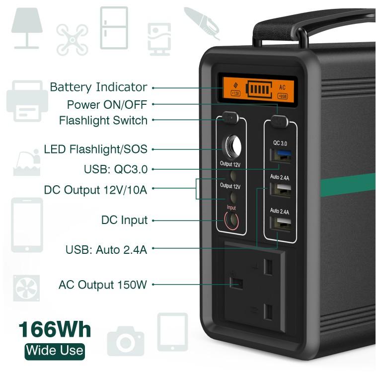 Generador solar portátil BEAUDENS de 166Wh